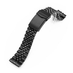 22mm Super-J Louis 316L Stainless Steel Watch Band for Seiko new Turtles SRPC49, Diamond-like Carbon (DLC coating) V-Clasp
