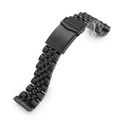 22mm Angus-J Louis 316L Stainless Steel Watch Band for Seiko new Turtles SRPC49, Diamond-like Carbon (DLC coating) V-Clasp