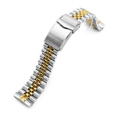 22mm Super-J Louis 316L Stainless Steel Watch Band for Seiko new Turtles SRP777, Two Tone IP Gold V-Clasp