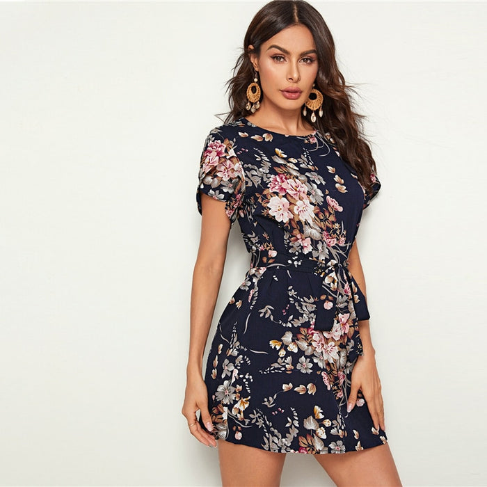 Navy Floral Print Petal Sleeve Women Dress With Belt - Mango Beach Towels and Accessories
