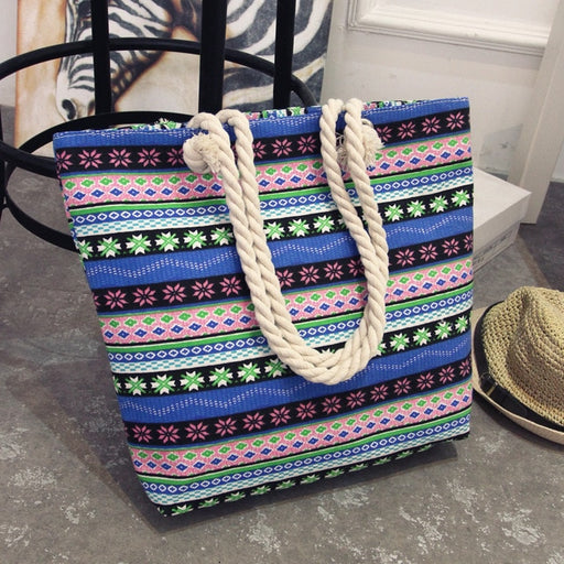 """The Bohemian Chic"" Multi-Pattern Beach Tote Bag - Mango Beach Towels and Accessories"