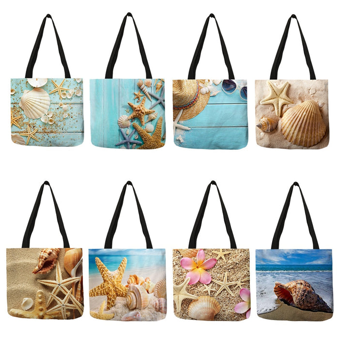 Ladies Ocean Starfish Beach Sand Prints Tote Bag - Mango Beach Towels and Accessories