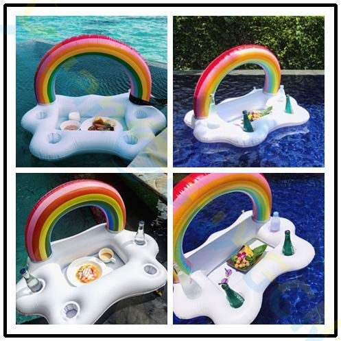 Giant Inflatable Rainbow Cloud Bar Pool Float - Mango Beach Towels and Accessories