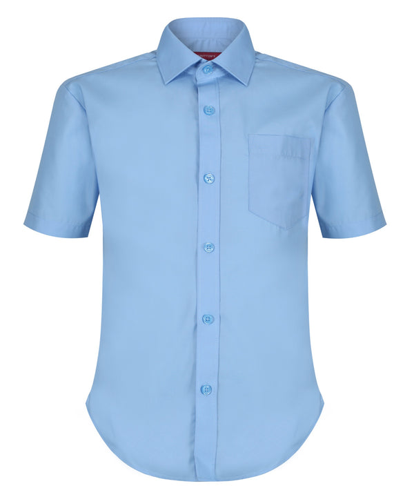 TPS207 Boys Short Sleeve Shirt - Slim Fit - Blue - Twin Pack