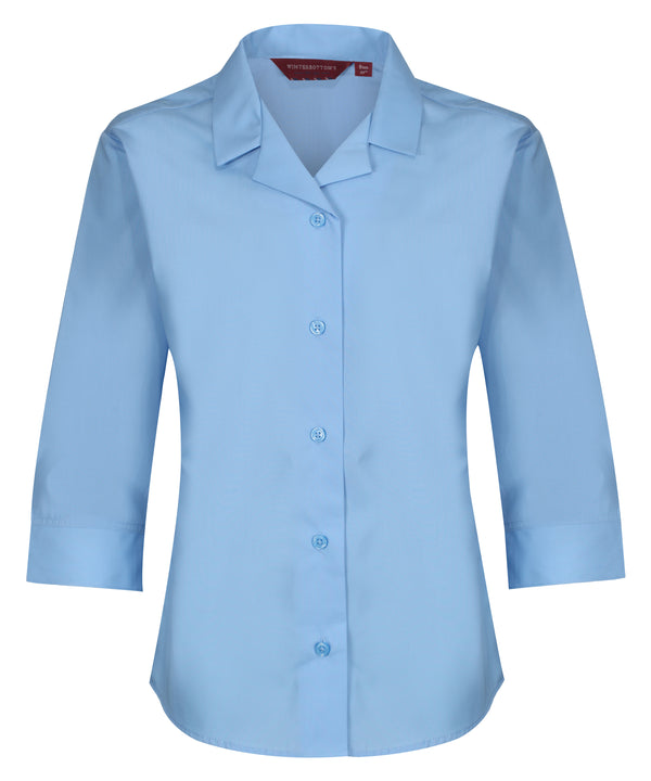 BLS603 Girls 3/4 Sleeve Revere Collar Blouse - Single Pack - Blue