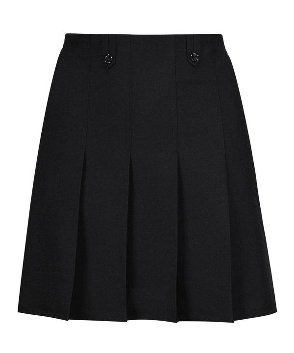 JSK200 - Junior Girls Flower Button Skirt - Black