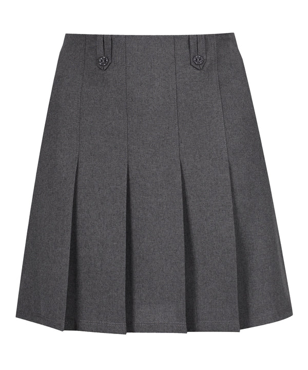 JSK200 - Junior Girls Flower Button Skirt - Grey
