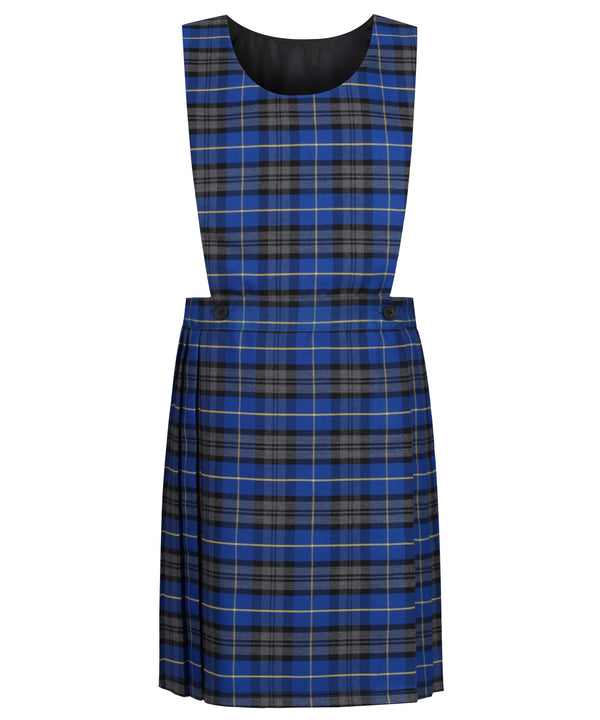 PIN112 Junior Girls Bib Pinafore - Blue Tartan