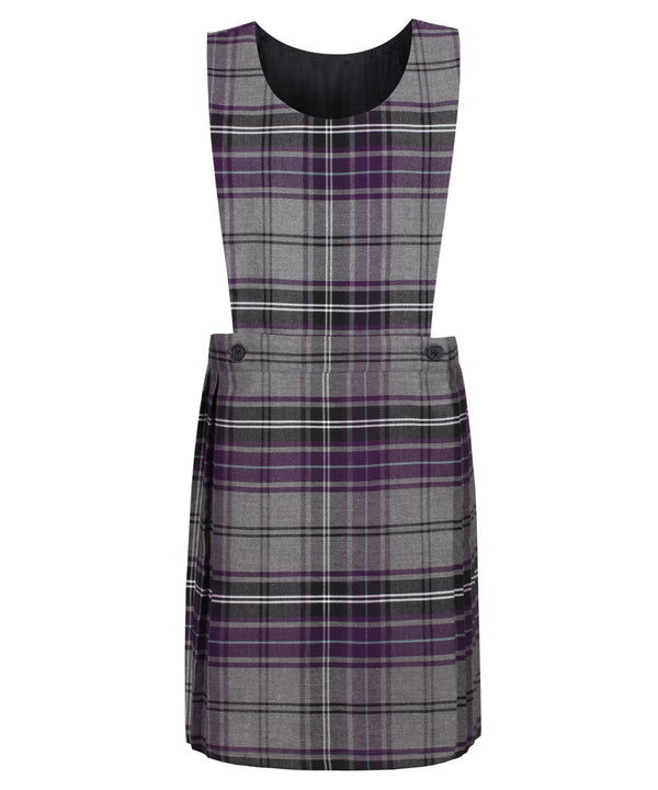 PIN112 Junior Girls Bib Pinafore - Grey Tartan
