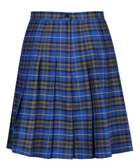 SSK308 Senior Girls Stitch Down Knife Pleat Skirt - Blue Tartan