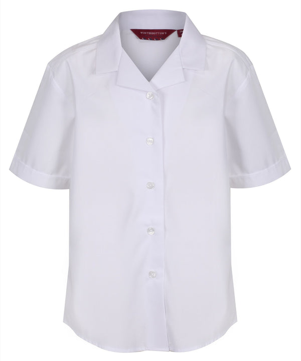 TPB422 Girls Short Sleeve Revere Collar Non-Iron Blouse - White - Twin Pack