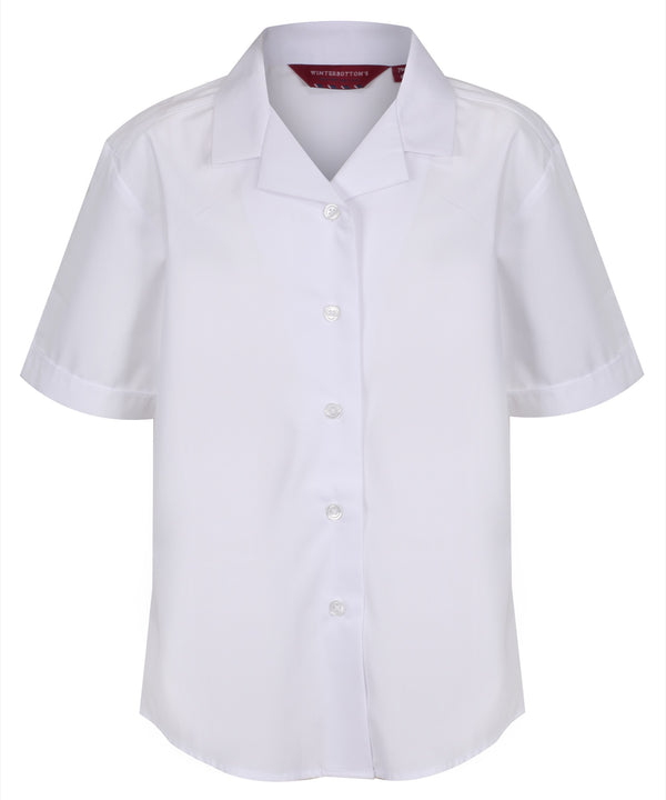 TPB407 Girls Short Sleeve Blouse - Revere Collar - White