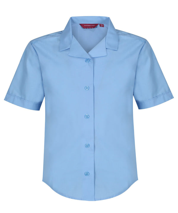 TPB422 Girls Short Sleeve Revere Collar Non-Iron Blouse - Blue - Twin Pack
