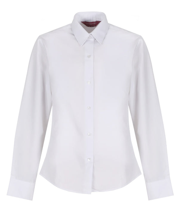 TPB424 Girls Long Sleeve Non-Iron Blouse - Slim Fit - White - Twin Pack