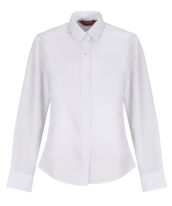 TPB409 Girls Long Sleeve Blouse - Slim Fit - White - Twin Pack