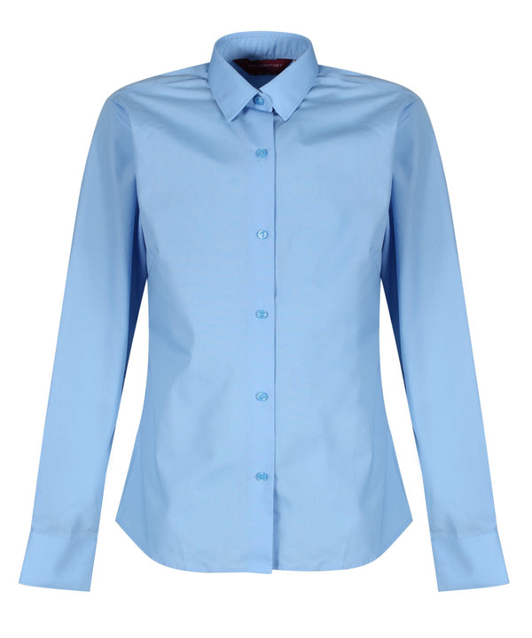 TPB424 Girls Long Sleeve Non-Iron Blouse - Slim Fit - Blue - Twin Pack