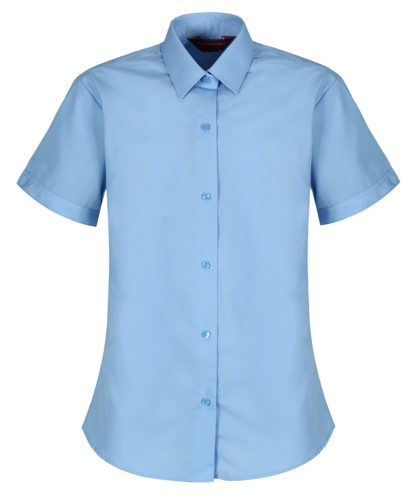 TPB410 Girls Short Sleeve Blouse - Slim Fit - Blue - Twin Pack