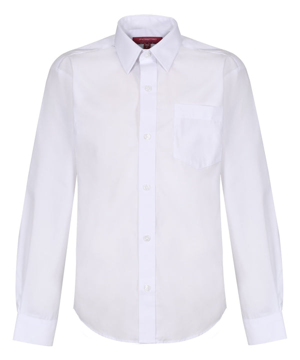 TPS210 Boys Long Sleeve Non-Iron Shirt - Regular Fit - White - Twin Pack