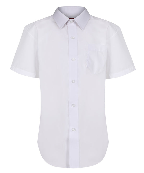 TPS211 Boys Short Sleeve Non-Iron Shirt - Regular Fit - White - Twin Pack