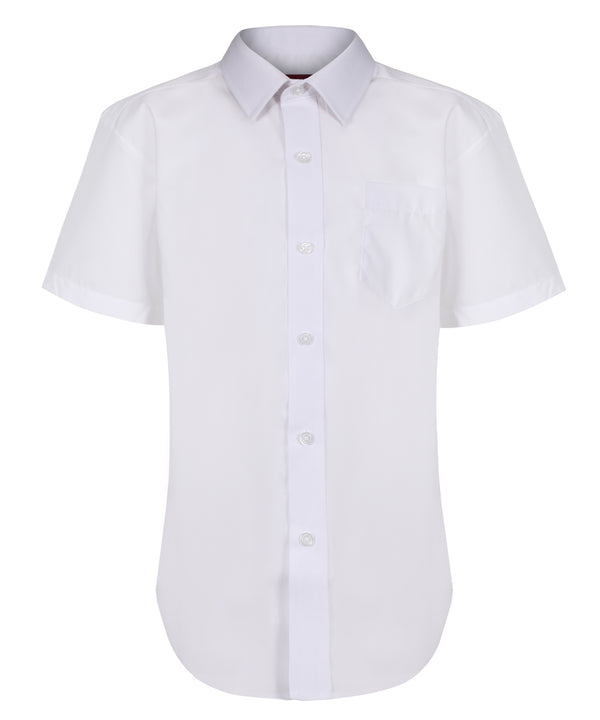 TPS204 Boys Short Sleeve Shirt - Regular Fit - White - Twin Pack