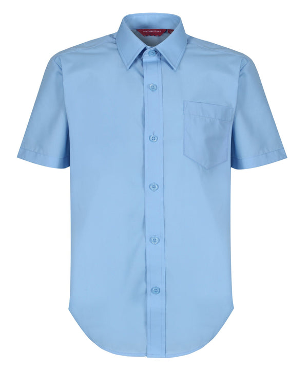 TPS211 Boys Short Sleeve Non-Iron Shirt - Regular Fit - Blue - Twin Pack