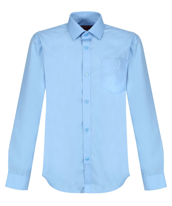 TPS212 Boys Long Sleeve Non-Iron Shirt - Slim Fit - Blue - Twin Pack
