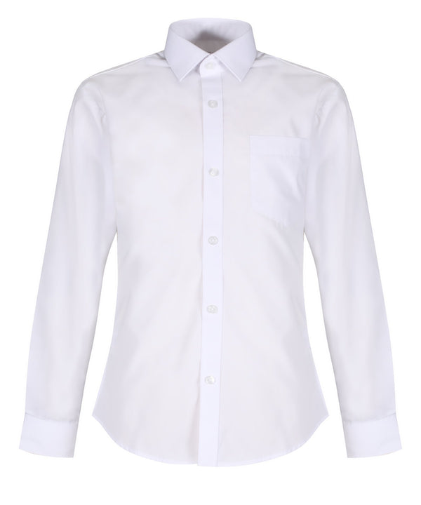 TPS212 Boys Long Sleeve Non-Iron Shirt - Slim Fit - White - Twin Pack
