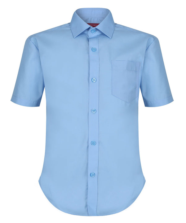 TPS213 Boys Short Sleeve Non-Iron Shirt - Slim Fit - Blue - Twin Pack