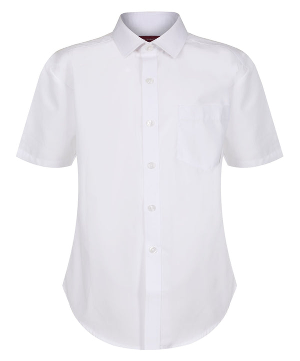 TPS213 Boys Short Sleeve Non-Iron Shirt - Slim Fit - White - Twin Pack