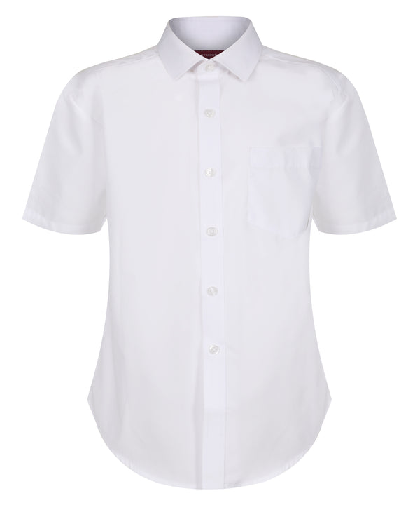 TPS207 Boys Short Sleeve Shirt - Slim Fit - White- Twin Pack