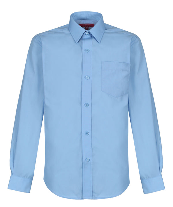 TPS203 Boys Long Sleeve Shirt - Regular Fit - Sky Blue - Twin Pack