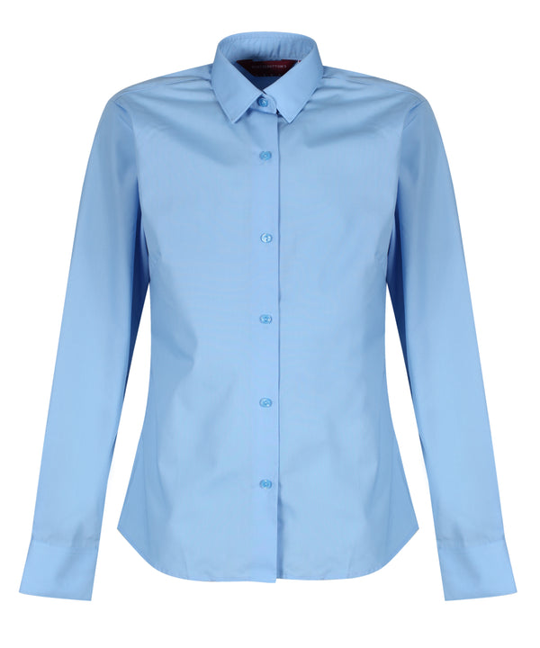 TPB409 Girls Long Sleeve Blouse - Slim Fit - Blue - Twin Pack