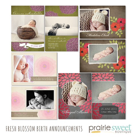 Fresh Blossom Birth Announcement Collection