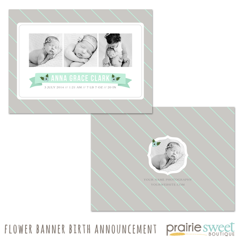 Flower Banner Birth Announcement