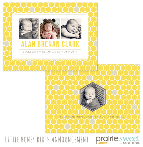 Little Honey Birth Announcement - Design 1