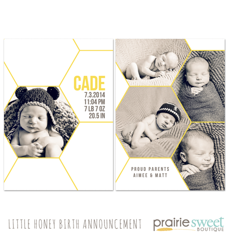 Little Honey Birth Announcement - Design 2