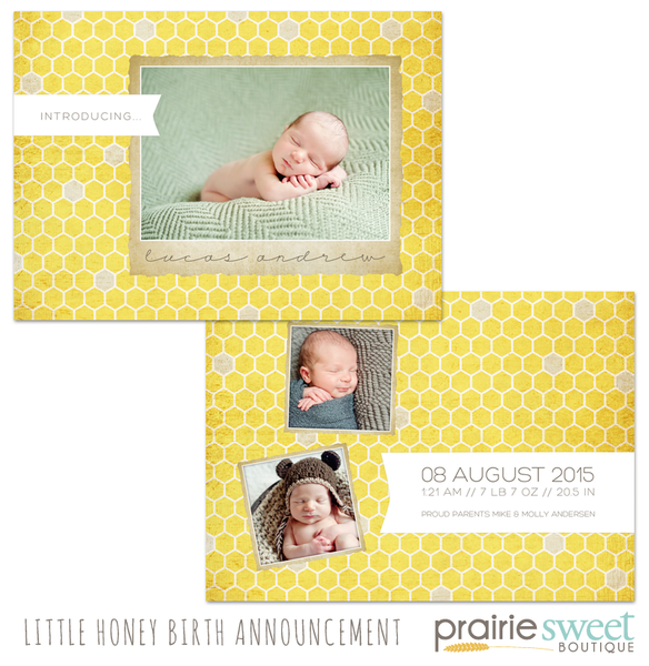 Little Honey Birth Announcement - Design 3