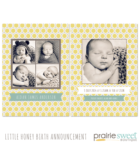 Little Honey Birth Announcement - Design 4