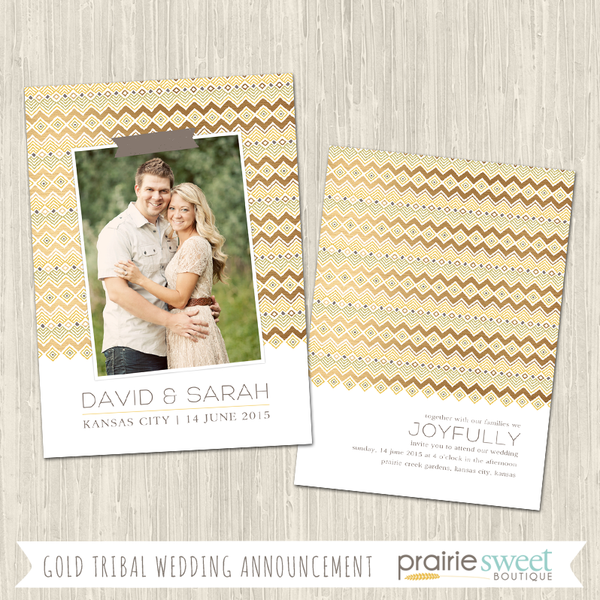 Gold Tribal Print Wedding Announcement