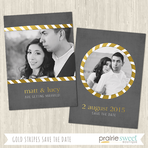 Gray & Gold Stripes Save the Date