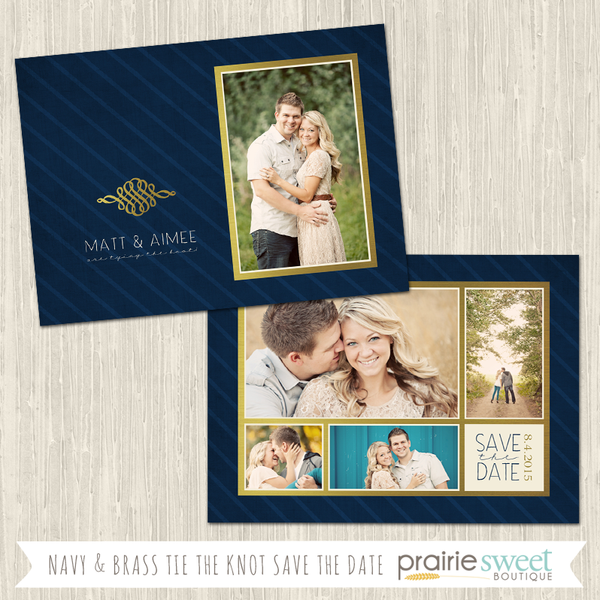 Navy and Brass Save the Date