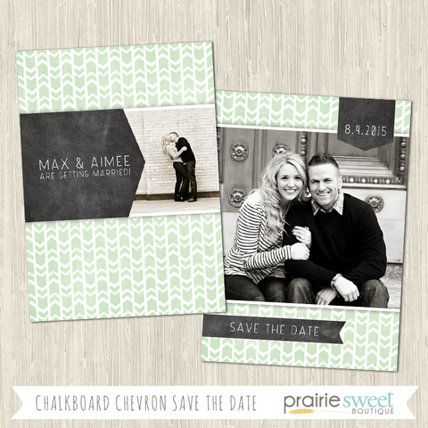 Chalkboard Chevron Save the Date