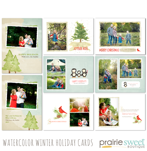 Watercolor Winter Holiday Card Collection