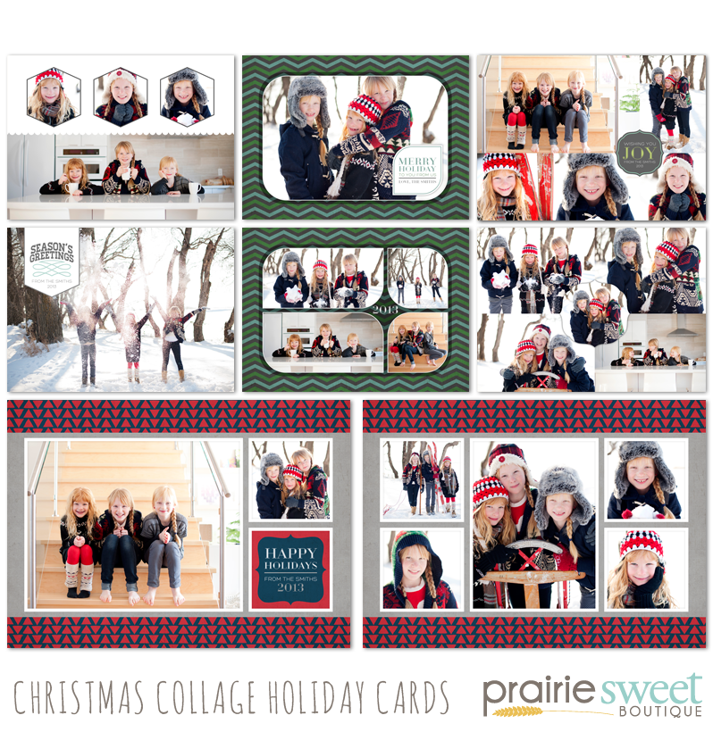 prairie sweet boutique christmas collage holiday cards collection