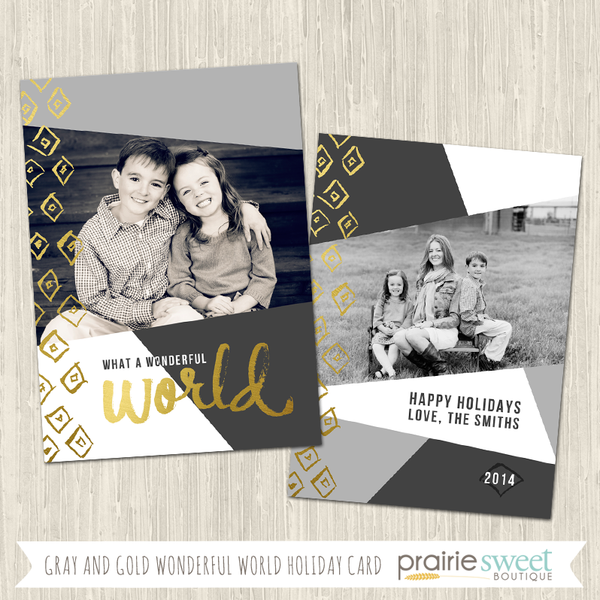 WONDERFUL WORLD | Gray and Gold Holiday Card