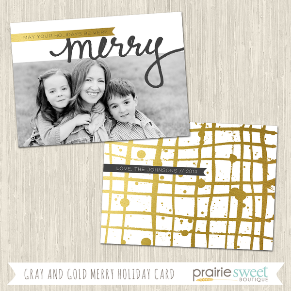 MERRY | Gray and Gold Holiday Card