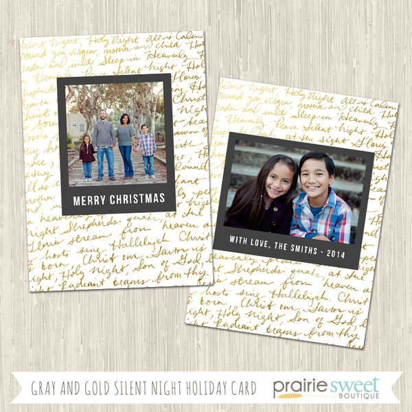 SILENT NIGHT | Gray and Gold Holiday Card