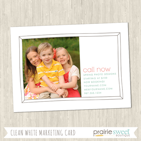 Clean White Photo Session Marketing Card Template