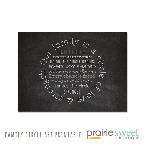 Family is a Circle Art Printable 8x10