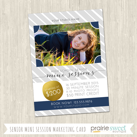 Senior Mini Sessions Photography Marketing Card Template